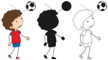 A set of boy with soccer ball in color, silhouette and outline vector