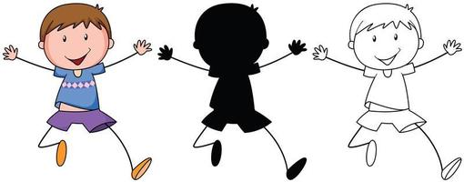 A set of boy jumping in color, silhouette and outline vector