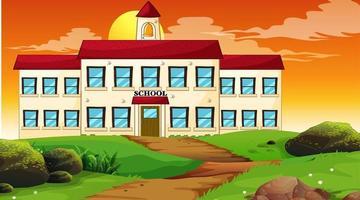 School building sunset scene vector