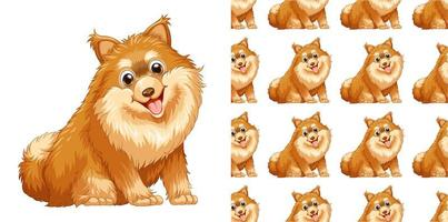 Seamless and isolated dog pattern cartoon vector