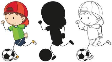 A set of boy kicking soccer ball in color, silhouette and outline vector
