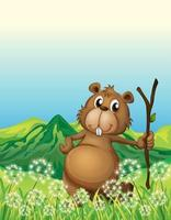 A beaver in the grass holding a stick