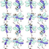 Nahtlose Musterfliese mit Karikaturlibelle