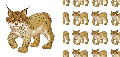 Seamless and isolated lynx pattern