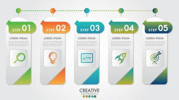 Infographic modern template for business with 5 steps