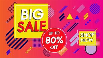 Sale banner design with geometric style