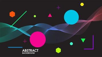 Abstract black background with dynamic linear futuristic waves vector