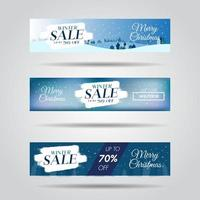 Set of winter design sale banners with sale text and snowflake background