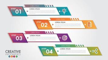 Banner de negocios horizontal con formas geométricas con 4 pasos.
