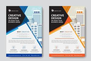 Blue and Orange Angled Corporate Business Template