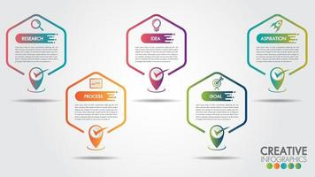 Business infographics Hexagon 5 steps and business icons