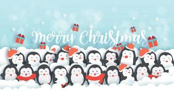 Christmas background with cute penguins .
