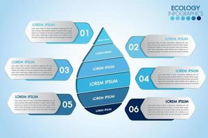 Infographic eco water drop with 6 steps vector