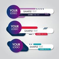 Lower third white and colorful contemporary set of banners vector