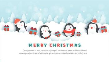 Christmas celebrations with cute penguins in the snow forest.