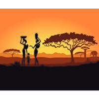 Pôr do sol na África com mulheres e crianças