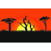 Pôr do sol na paisagem de África com árvores