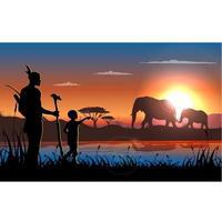 Puesta de sol en África paisaje con hombre, niño y elefantes