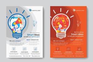 Corporate Business Template with Megaphone in Light Bulb shape