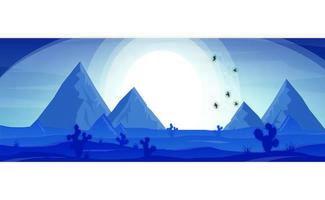 Deserto azul e montanha com pôr do sol