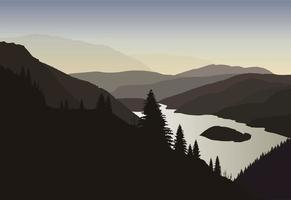 Lever du soleil sur la montagne et le lac