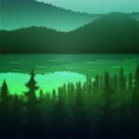 A selva e o lago da paisagem bonita