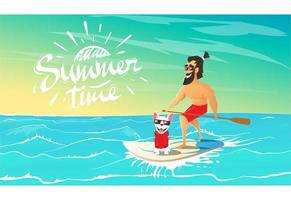 Summer Time Text And Man Surfing With Dog