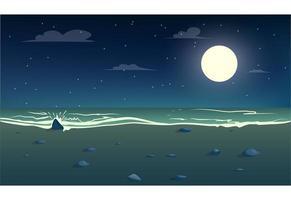 La lune sur la mer et la plage la nuit