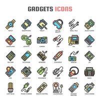 Ícones de linha fina de gadget