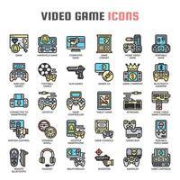 Ícones de linha fina de videogame