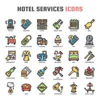 Hotel Service Thin Line Color Icons vector
