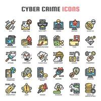 Cyber Crime Thin Line Icons