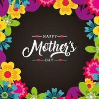 floral mothers day card vector