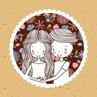 cute vintage portrait of pregnant couple with flowers vector
