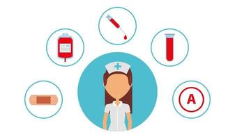 medical health care professional with medical icons vector