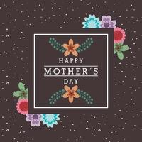 mothers day card with floral design and inset square with text