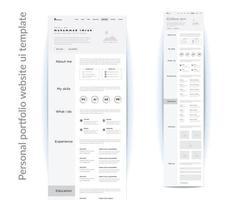 plantilla de diseño de interfaz de usuario del sitio web de cartera personal vector