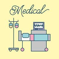 cama médica iv soporte y máquina de monitoreo