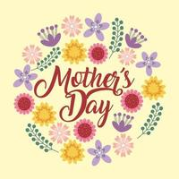mothers day floral card vector