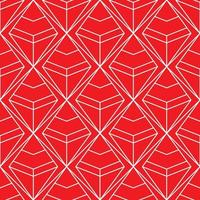 seamless red and white diamond geometric pattern vector