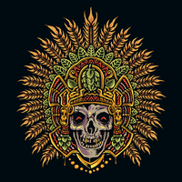 Hand draw aztec skull