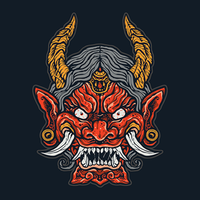 Arg japansk demon ansikte
