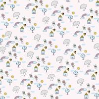 pattern of bugs and rainbow in garden back home vector