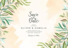 Botanic greenery wedding invitation card template