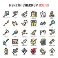 Health Checkup Thin Line Icons
