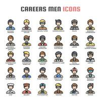 Careers Men Thin Line Icons vector