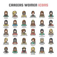 Careers Women Thin Line Icons vector