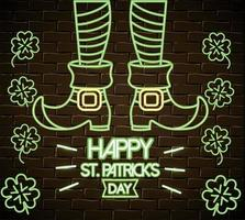 st patrick legs with boots and clovers neon label vector