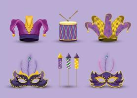 set joker hat with masks and drum to Mardi gras vector