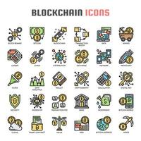 Blockchain Thin Line Icons vector